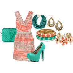 love the contrast of teal and coral!!