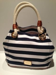 Just Handbags: Clutches: Michael Kors Marina MD Grab Bag Navy White Stripes Canvas