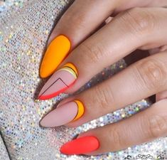 What Christmas manicure to choose for a festive mood - My Nails Perfect Nails, Gorgeous Nails, Pretty Nails, Funky Nails, Neon Nails, Neon Orange Nails, Nail Pink, Red Nail, Hair And Nails