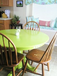 Haha! This is the color I painted my ugly round dining room table! Now I love it.