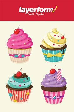 Layerform Vector Cupcakes by Layerform Magazine, via Behance Cupcake Kunst, Cupcake Art, Cupcake Illustration, Cupcake Clipart, Food Clipart, Cupcake Pictures, Cupcake Drawing, Diy And Crafts, Canvas Paintings