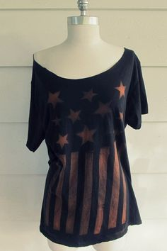 @: DIY Contact Paper Stencil Bleach Flag Tee Shirt Tutorial