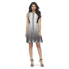 Women's Scuba Sleeveless Fit & Flare Dress White/Black 14 - Studio One
