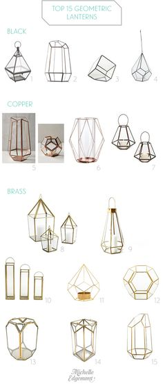 Top 15 Geometric Lanterns, candle holders, and terrariums for modern weddings by Michelle Edgemont