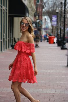 Lovers + Friends Off-The-Shoulder Sun Dress, DVF wedges, Dior So Real Sunglasses // snapped by gracie