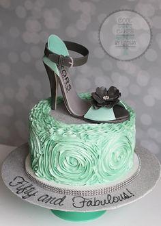 Mint and charcoal grey ruffle shoe cake