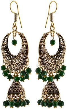 Fashion Earring for young women, Green Dangle & Drop Earring, Gift for young women, Indian latest, Fashion jewellery, top in delhi, fashion hub, Collage wear