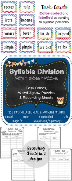 This pack consists of 2 sets – �Cut It!� Set and �Build It!� Set.  In each set, there is/are:  � 250 word cards with the VCV, VC-le and VCC-le syllable patterns (includes both REAL and NONSENSE words) � 1 Recording Sheet (in 2 slightly different designs)