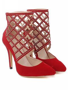 Rhinestone Embellished Red High Heels Fashion Shoes