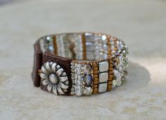 Loomed Beaded Bracelet - Sundance Style Artisan Jewelry - Copper and Silver - Sassy by SplendorVendor