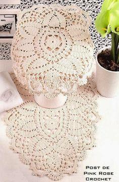 Crochet beige bathroom decor ♥LCB♥ with diagram