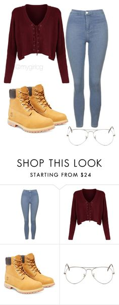 """""""School Series #1"""" by mygirlcg ❤ liked on Polyvore featuring Topshop, Timberland and Ray-Ban"""
