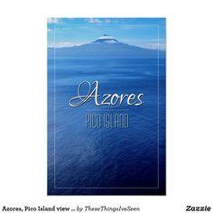 Azores, Pico Island view from São Jorge Poster Republic Of Ireland, Azores, Landscape Prints, Custom Posters, Holiday Photos, Beautiful Islands, Volcano, Photographic Prints, Custom Framing