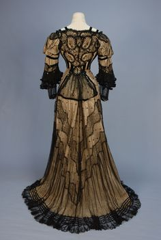 Ephemeral Elegance   Trained Sequined Lace Evening Gown, ca. 1905