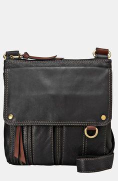 Rich, smooth leather structures a vintage-chic crossbody bag embellished with burnished goldtone hardware for enhanced vintage appeal. Color(s): black, cream, saddle. Brand: Fossil. Style Name: Fossil 'Morgan Traveler' Crossbody Bag. Style Number: 937616.