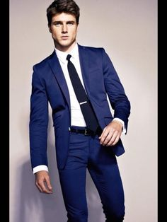 Navy Suit with a red tie for the guys