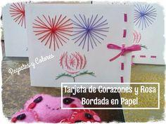 Tarjeta de Corazones y Rosa Bordada en Papel Postcards, Blog, Home Decor, Pink, Paper Envelopes, Colors, Needlepoint, Art, Decoration Home