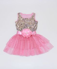 Love this Silver & Pink Sequin Ruffle Dress - Toddler & Girls on #zulily! #zulilyfinds