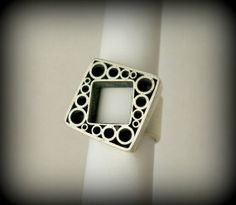 Circles and squares ring sterling silver by Q2jewelrycollection, $135.00