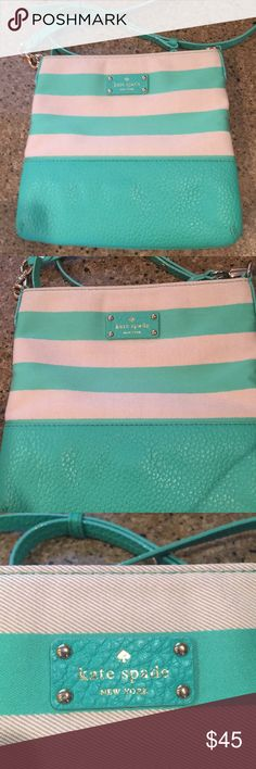 "Kate Spade Grove Court Striped Crossbody Bag Handbag is in good pre-loved condition. Such a pretty teal/green color. PRICE IS FIRM!   Width-10.5"" Height-10"" kate spade Bags Crossbody Bags"