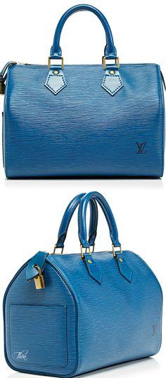 Vintage Louis Vuitton ● 25Cm Blue Epi Speedy