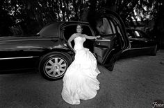 #bride posing in limo  * if you dream about fashion style picture from your #wedding, contact us www.WeddingMeetsFashion.com