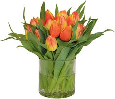 The French Bee 19 Tulip Arrangement in Vase, Faux