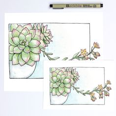 Succulents with pretty yellow blooms ---- Watercolor + Ink Print on 60lb Canvas Paper Signed + Numbered by the Artist Frame not included Available in 5x7 or 8x10