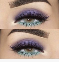 Gorgeous purple & mint eye make up look - perfect for adding colour to an all bl. Gorgeous purple & mint eye make up look - perfect for adding colour to an all black outfit Gorgeous Makeup, Pretty Makeup, Love Makeup, Makeup Inspo, Makeup Art, Makeup Inspiration, Beauty Makeup, Makeup Style, Fairy Makeup