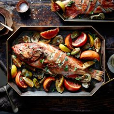 Roasted Rockfish with Artichokes, Citrus, and Lemon-Caper Browned Butter | MyRecipes