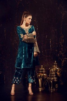 Sana Abbas has the answer to all your fashion concerns:from Pret, Luxury Pret to Formals and Bridals, we are a packed powerhouse in women's wear. Velvet Pakistani Dress, Pakistani Formal Dresses, Pakistani Wedding Outfits, Pakistani Dress Design, Indian Dresses, Indian Outfits, Party Wear Dresses, Dress Outfits, Stylish Dresses