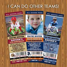 Sports tickets Party Invitations I can do ALL teams by jayarmada, $13.99    Football, Basketball, baseball, hockey and sports theme ticket! =D