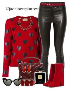 Cool Leather by jadelovespintrest on Polyvore featuring polyvore fashion style Burberry J Brand Maison Margiela Yves Saint Laurent Mixit Sara Roka Avon clothing