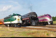 611 poses briefly with two stablemates, Sourthen and ACL both residents of the NC Transportation Museum. ACL had been given a decal to appear as a N&W engine. Train Museum, Station To Station, Train Truck, Norfolk Southern, Train Pictures, Diesel Locomotive, Diesel Engine, Model Trains, Trains