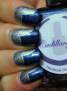 Cadillacquer Ink stamped with MoYou London Explorer plate 06 and A England Excalibur (original version)