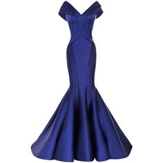 Zac Posen Stretch Duchess Off-The-Shoulder Gown (516.745 RUB) ❤ liked on Polyvore featuring dresses, gowns, long dresses, zac posen, blue gown, off shoulder gowns, blue evening gown and long blue evening dress