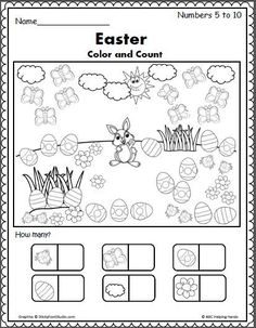 Easter Color And Count Preschool Worksheet Easter Spring Counting 5 To 10 Easter Worksheets Coloring Easter Color And Count Preschool Worksheet Color Worksheets For Preschool, Kindergarten Workbooks, Easter Worksheets, Easter Activities, Spring Activities, In Kindergarten, Coloring Worksheets, Seasons Worksheets, Matching Worksheets