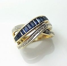 14k solid yellow gold diamond and sapphire journey ring #rings