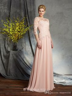 ac3e7e7515 3 4 Sleeve Lace Mother Of The Bride Dresses For Weddings Floor Length  Chiffon Evening Gowns Plus Size Mothers Guest Dress Beautiful Mother Of The  Bride ...