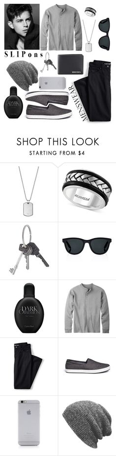 """""""Menswear > Slip-ons"""" by drehrodriguez ❤ liked on Polyvore featuring Emporio Armani, Effy Jewelry, Givenchy, Barton Perreira, Calvin Klein, Lands' End, TOMS, Native Union, Diesel and men's fashion"""