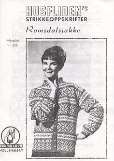 Husfliden Romsdalsjakke 226 Embroidery Patterns, Knitting Patterns, Norwegian Knitting, Tapestry Weaving, Vintage Knitting, Old Pictures, Jumpers, Color Combinations, Charts