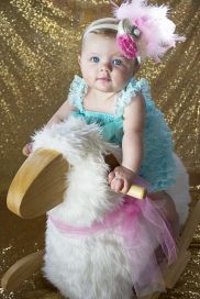 6 month old photos.  V-day gold glam sequin background. M.Reed Studio.