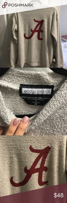 (Brand New) Woolly Threads Alabama A Got it as a gift and loved it but just too small/ Perfect condition only worn once/ size medium / authentic Woolly threads / sold out online / university of Alabama / towel like material / super comfy / tagged brand for exposure / sorority Free People Sweaters