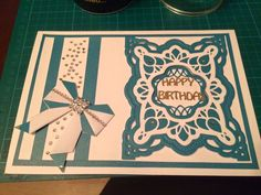 Made by Tanya Mahon - Hi all, Here is my second card for a family member, i have used all card stock from create and craft and the dies are from sue wilson, i made the bow myself im so pleased with it,