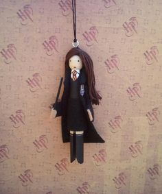 Hermione Granger Clothespin Doll Ornament by LittleParade on Etsy, $12.00