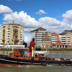 Steam Tug Portwey passing Pepys Estate on Sunday afternoon.  #RiverThames #London #Boat #Tug #SteamTug #Portwey #STPortwey