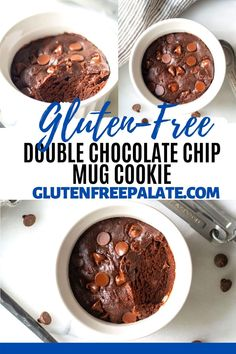A rich fudgy Gluten-Free Double Chocolate Chip Mug Cookie that uses minimal ingredients and is ready in under 5 minutes. Gluten Free Party Food, Easy Gluten Free Desserts, Gluten Free Sides Dishes, Gluten Free Cakes, Chocolate Chip Mug Cookie, Gluten Free Chocolate Chip Cookies, Chocolate Mug Cakes, Gluten Free Brownie In A Mug, Gluten Free Brownies