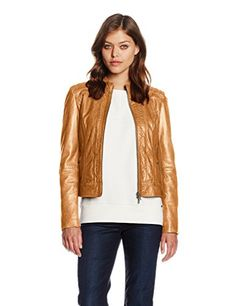 BOSS Janabelle Blouson Marron (Light/Pastel Brown 230) 38 Femme Red Leather, Leather Jacket, Boss Orange, Mantel, Bomber Jacket, Outfits, Jackets, Fashion, Brown Jacket