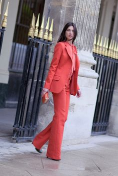 Daring coral suit   Jacquelyn Jablonski for Chloé