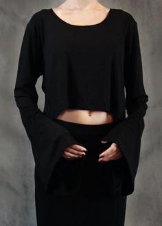 Sonette top  Black Bell Sleeve Crop Top by NOCTEX on Etsy